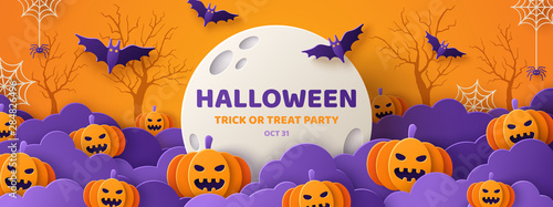 Halloween paper cut orange banner Wallpaper Mural