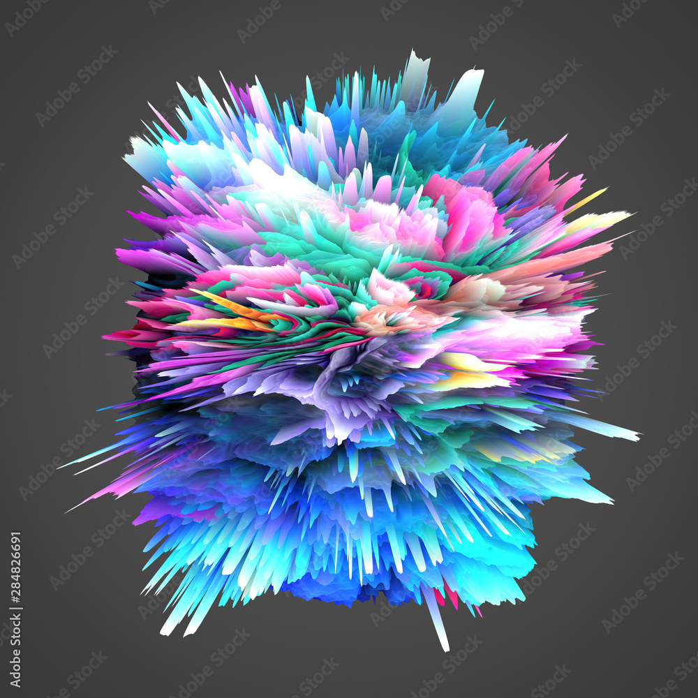 Fototapeta modern art abstract background with color effect, 3d render illustration
