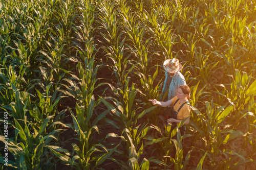Foto Female agronomist advising corn farmer in crop field