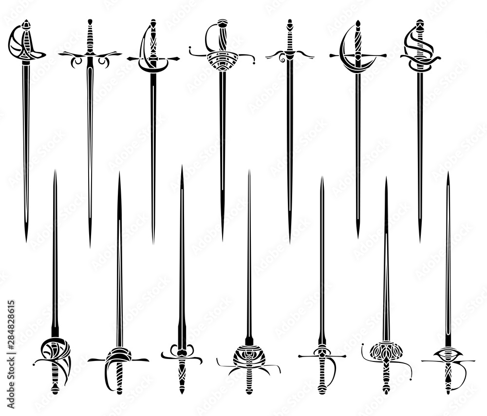 Fototapeta Set of simple monochrome images of epees and rapiers.