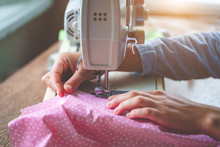Electric Sewing Machine Close Up During Sewing Process