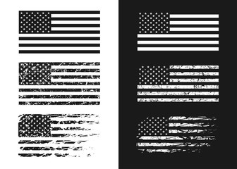Black and white USA flags