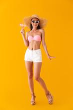 Attractive Cheerful Young Girl Wearing Bikini Standing