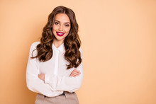 Portrait Of Her She Nice-looking Attractive Lovely Shine Glamorous Pretty Winsome Perfect Content Cheerful Cheery Wavy-haired Lady Employer Folded Arms Isolated Over Beige Pastel Background