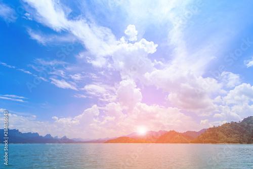 Foto op Plexiglas Purper Lakes, mountains, sky. thailand on sunset background