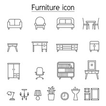 Furniture Icon Set In Thin Line Style