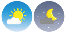 Sun And Moon With Clouds In Ci...