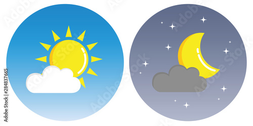 Fotomural sun and moon with clouds in circle day and night concept vector illustration EPS