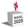 Leinwandbild Motiv Wahl 2020 Wahlurne und Stimmzettel