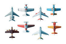 Aircraft Top View. Civil And Military Airplanes Collection In Flat Style Vector Pictures. Illustration Plane Jet, Fighter And Aeroplane