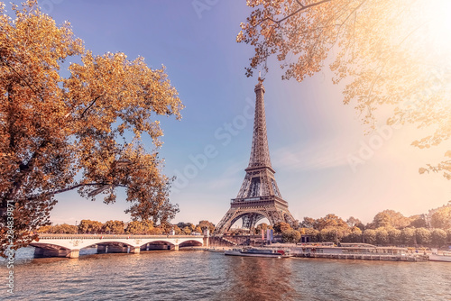Paris city with Eiffel tower in autumn
