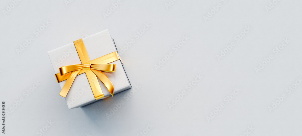 White gift box with golden bow on white paper background 3D Rendering