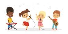 Singing Kids. Vector Cute Children Choir. Kids Vocal Group Illustration. Child Boy And Girl, Vocal Children Enjoyment