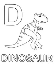 Alphabet Coloring Page With Wild Dinosaur In Doodle Style