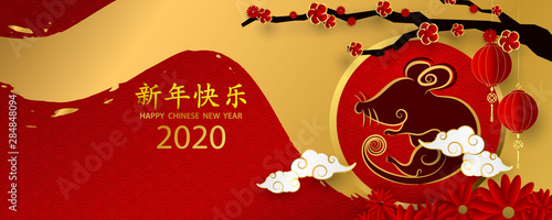 Happy chinese new year 2020 banner card year of the rat gold red vector graphic Canvas Print