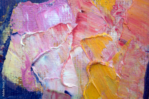 Photo sur Toile Papillons dans Grunge Abstract modern painting. Painting painted with a palette knife on canvas with oil paints in a large stroke.