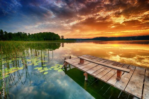 Obraz Beautiful summer sunrise over lake - fototapety do salonu