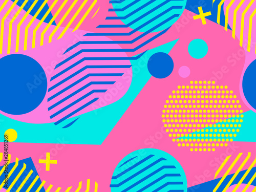 Photographie  Geometric seamless pattern in memphis and pop art style
