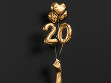 20 Years Old. Gold And Black Number 20th Anniversary, Happy Birthday Congratulations. 3d Rendering.