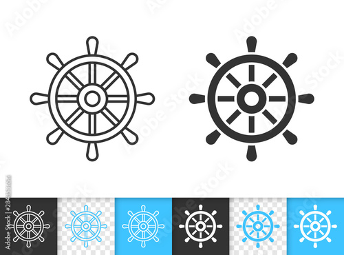 Fotomural Wheel ship helm simple black line vector icon