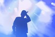 canvas print picture - Young hip hop singer on stage in music hall
