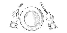 Hands Holds Silver Fork And Kn...