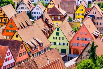 Panel Szklany Architektura old town of dinkelsbuhl - germany
