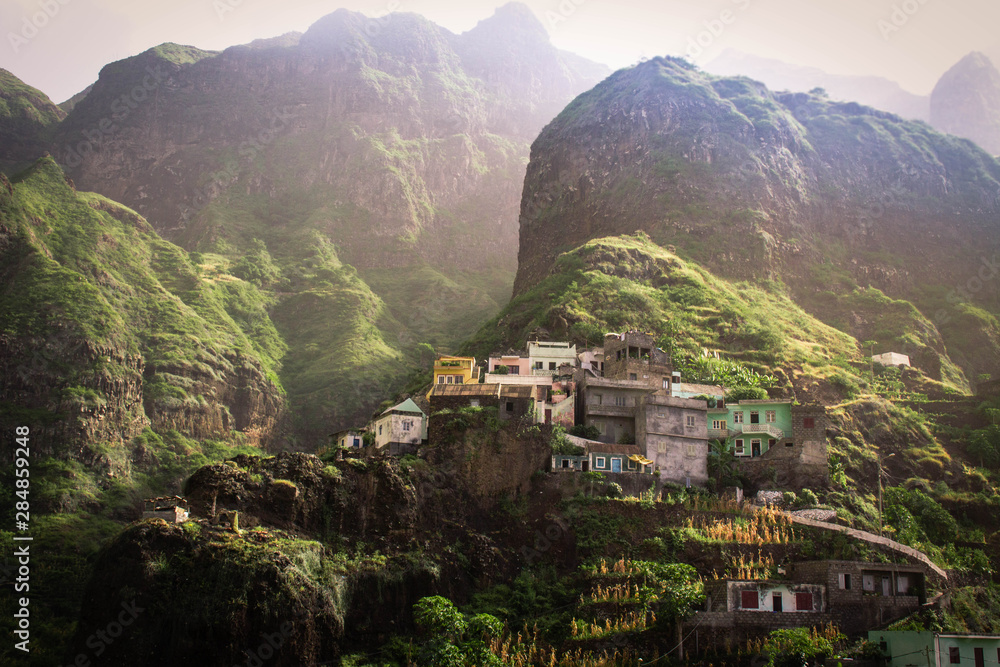 Fototapety, obrazy: Fontainhas, kleiner Ort auf Santo Antão, Cape Verde, West Africa