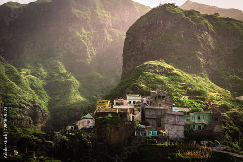 Photo Fontainhas, kleiner Ort auf Santo Antão, Cape Verde, West Africa