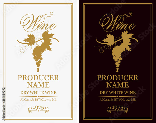 Fototapeta Vector set of two labels for wine with bunches of grapes and calligraphic inscriptions in retro style obraz