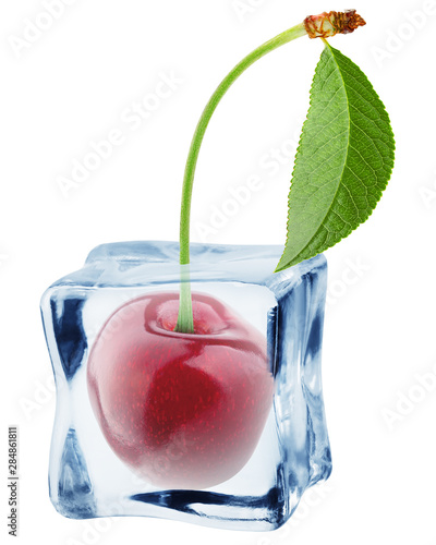 Fotografie, Obraz  cherry in ice cube, isolated on white background, clipping path, full depth of f