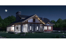 3d Render Of A Modern Private House Stone Texture Facade, Illuminated Night View
