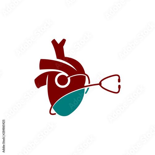 Fotografie, Tablou  Heart attack risk vector logo icon design Illustration