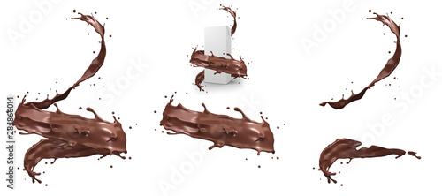 Canvastavla Hot chocolate splash in spiral shape with clipping path,3d rendering