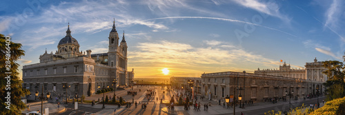 Valokuvatapetti Madrid Spain panorama city skyline sunset at Cathedral de la Almudena