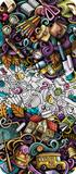 Fototapeta Młodzieżowe - Cartoon cute colorful hand drawn doodles School background