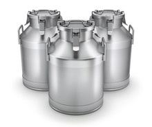Milk Cans With Latch On White ...