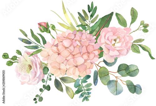 Fotografía  Roses and eucalyptus bouquet