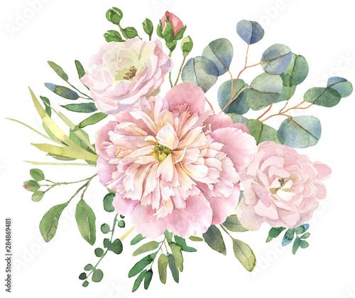 Roses and eucalyptus bouquet Wallpaper Mural