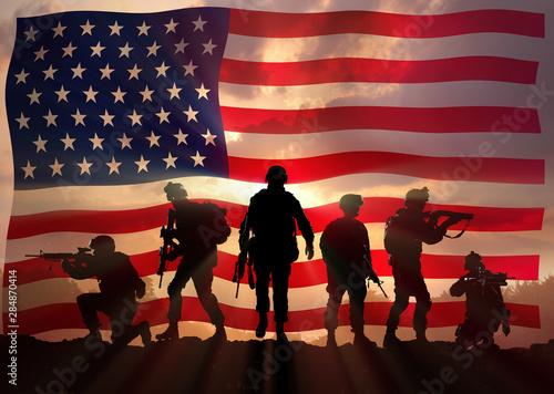 Cuadros en Lienzo  Six military silhouettes against the American flag