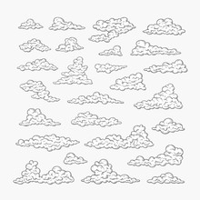Hand Drawn Clouds Set. Black And White Line Drawing Sky