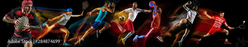 Fototapeta Creative collage of photos of 7 models on black in mixed light. Advertising, sport, healthy lifestyle, motion, activity, movement concept. American football, soccer, tennis volleyball basketball rugby obraz