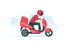 Courier On The Red Motorbike With City Background