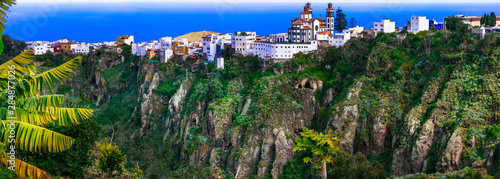 Beautiful mountain village Moya over rocks - Gran Canaria, Travel in Grand Canary island
