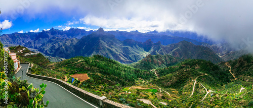 Breathaking mountain views of Grand Canary island. Artenara village. Canary islands of Spain