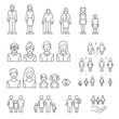 Family icons set. Family generations: grandfather, grandmother, father, mother, kids. People of different ages outline style