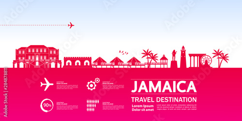 Jamaica travel destination grand vector illustration. Canvas-taulu