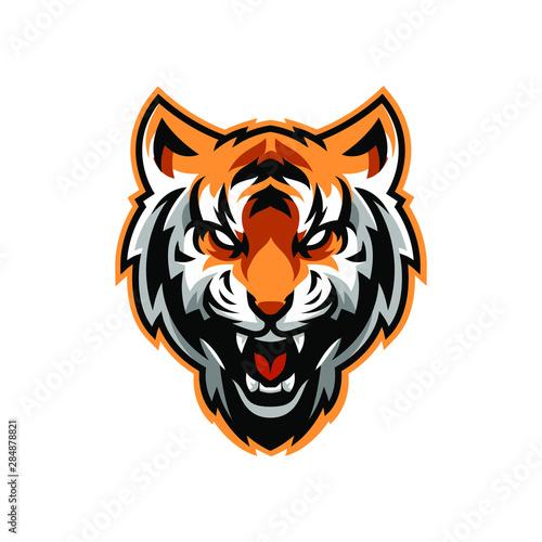 Angry Tiger Mascot, Isolated vector logo illustration Fototapeta