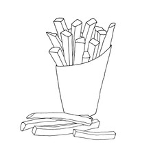 French Fries Food Vector Illustration Design Hand Drawing