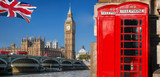 Fototapeta Londyn - London symbols with BIG BEN, DOUBLE DECKER BUSES and Red Phone Booths in England, UK